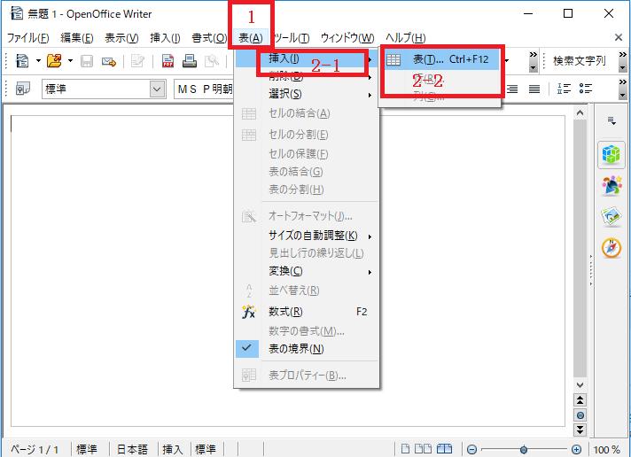 「タブ」の〔表〕から表を作る1~2-OpenOffice Writerで表を作る