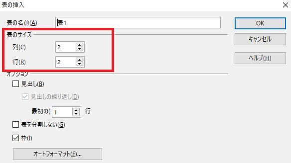 「表のサイズ」で列の数と行の数を指定-OpenOffice Writerで表を作る