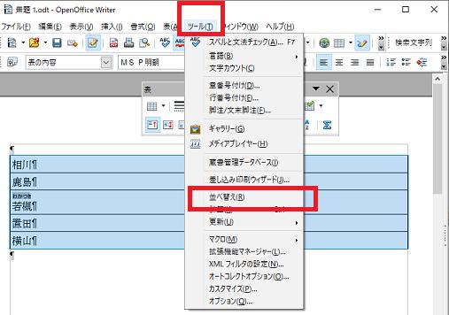 〔ツール〕⇒〔並べ替え〕-OpenOffice Writerで表を作る