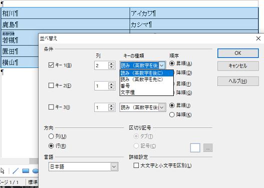 並び替えの条件を指定-OpenOffice Writerで表を作る