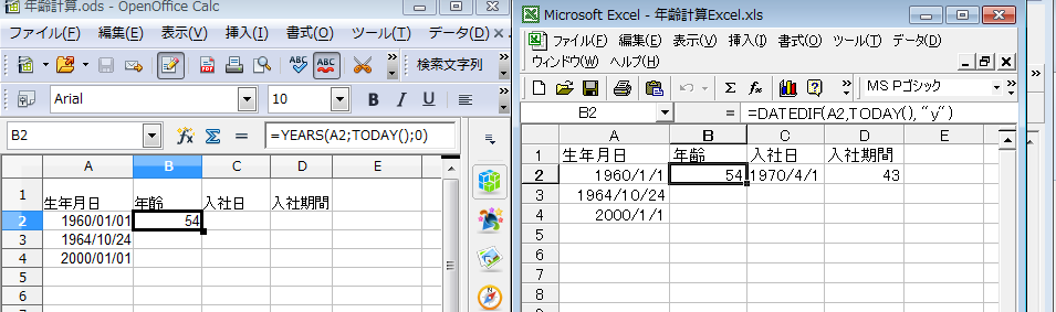 Excel・OpenOfficeCalc・LibreOfficeCalcで年齢などの経過年数を関数を使って自動計算できる